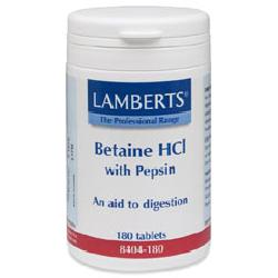 Betaine HCl 324mg with Pepsin 5mg<br>180 tablets<br>